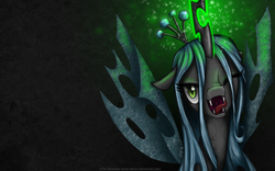 Size: 1680x1050 | Tagged: safe, artist:burning-heart-brony, queen chrysalis, changeling, changeling queen, bedroom eyes, female, licking, licking lips, looking at you, magic, open mouth, portrait, smiling, solo, tongue out, uvula, wallpaper, wink