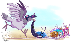 Size: 4027x2480 | Tagged: safe, artist:yulyeen, princess cadance, princess celestia, princess luna, twilight sparkle, bird, original species, pigeon, slug, snail, snail pony, alternate universe, behaving like a bird, birdified, context is for the weak, imminent vore, my little nature, my little x, not salmon, scared, slug pony, species swap, wat, wide eyes