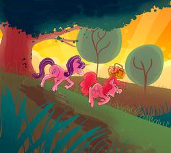 Size: 900x805 | Tagged: safe, artist:stevetwisp, pinkie pie, starlight glimmer, basket, dawn, forest, glimmerpie, picnic, sunset, tree