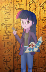 Size: 1350x2100   Tagged: safe, artist:egstudios93, twilight sparkle, equestria girls, ancient egypt, card, dark magician, duel disk, egyptian, female, hieroglyphics, solo, yu-gi-oh!