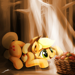 Size: 1300x1300 | Tagged: apple, applejack, artist:gasmaskfox, basket, food, puppy dog eyes, safe, solo, that pony sure does love apples, wood