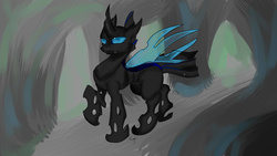 Size: 1920x1080 | Tagged: safe, oc, oc only, oc:drone r-935, changeling, hive