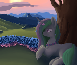 Size: 1280x1086 | Tagged: artist:yoditax, flower, flower in hair, princess celestia, safe, solo