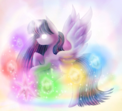 Size: 1100x1000 | Tagged: safe, artist:chanceyb, twilight sparkle, alicorn, pony, elements of harmony, female, glowing eyes, glowing horn, mare, solo, spread wings, twilight sparkle (alicorn)