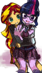 Size: 466x806 | Tagged: safe, artist:weiliy, sci-twi, sunset shimmer, twilight sparkle, equestria girls, blushing, clothes, crying, crystal prep academy uniform, cute, engagement ring, female, glasses, grin, hug, hug from behind, lesbian, open mouth, ring, school uniform, scitwishimmer, shimmerbetes, shipping, smiling, sunsetsparkle, tears of joy, twiabetes