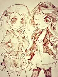 Size: 640x852 | Tagged: safe, artist:weiliy, sunset shimmer, trixie, equestria girls, monochrome, traditional art