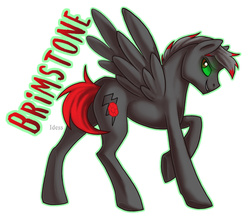 Size: 650x561 | Tagged: safe, artist:idess, oc, oc only, oc:brimstone, pegasus, pony, badge, con badge, glowing eyes, solo, text