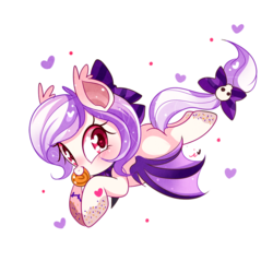 Size: 1000x1000 | Tagged: safe, artist:ipun, oc, oc only, bat pony, pony, blushing, bow, candy, female, food, hair bow, heart, heart eyes, lollipop, mare, mouth hold, nom, simple background, solo, tail bow, transparent background, wingding eyes