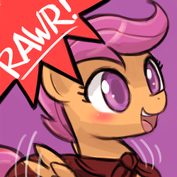 Size: 500x500 | Tagged: artist:lumineko, avatar, blushing, cape, clothes, cmc cape, cute, cutealoo, female, filly, flapping, open mouth, part of a set, pegasus, pony, rawr, rawrvatar, safe, scootaloo, smiling, solo