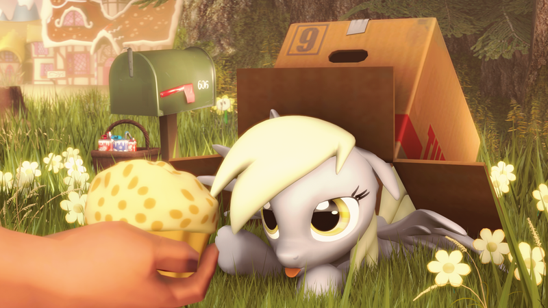 Size: 1920x1080 | Tagged: 3d, artist:d3athbox, box, box trot, cute, derpabetes, derpy hooves, food, grass, hand, human, mailbox, muffin, safe, solo, source filmmaker, tongue out, weapons-grade cute