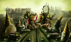 Size: 1250x729   Tagged: safe, artist:jamescorck, madame leflour, mr. turnip, pinkie pie, rocky, sir lintsalot, earth pony, hydra, pony, timber wolf, fallout equestria, buffout, crossover, drugs, fallout, fallout: new vegas, female, fiend, gritted teeth, hooves, jet, knife, mare, multiple heads, pinkamena diane pie, psycho, solo, tree, turbo