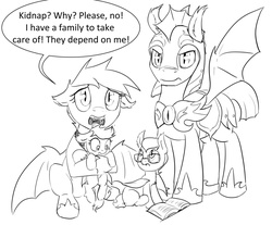 Size: 1280x1061 | Tagged: safe, artist:silfoe, oc, oc:evening melody, bat pony, pony, royal sketchbook, book, cute, dialogue, family, female, filly, floppy ears, frown, glare, glasses, grayscale, hoof hold, hug, looking at you, monochrome, night guard, open mouth, sad, sitting, speech bubble, spread wings, wide eyes