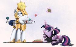 Size: 2000x1250 | Tagged: safe, artist:ncmares, princess celestia, twilight sparkle, alicorn, pony, alternate hairstyle, armor, book, clothes, female, heliocentric theory, hoodie, levitation, magic, mare, p:, planetarium, plot, ponytail, prone, royal guard, socks, solar system, striped socks, sun, telekinesis, tongue out, twibutt, twilight sparkle (alicorn), unamused, underhoof