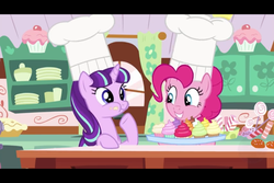 Size: 960x640 | Tagged: safe, screencap, pinkie pie, starlight glimmer, earth pony, pony, unicorn, the cutie re-mark, candy, chef's hat, chewing, clothes, cupcake, cute, eating, female, food, glimmerbetes, hat, mare, s5 starlight, smiling, sugarcube corner