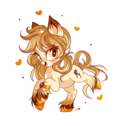 Size: 1000x1000 | Tagged: safe, artist:ipun, oc, oc only, oc:oh lala, earth pony, pony, blushing, female, heart, heart eyes, looking at you, mare, open mouth, simple background, smiling, solo, transparent background, unshorn fetlocks, wingding eyes