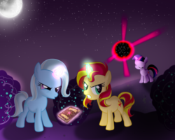 Size: 496x396 | Tagged: safe, artist:twilight7070, starlight glimmer, sunset shimmer, trixie, twilight sparkle, pony, unicorn, filly, filly sunset shimmer, filly trixie, filly twilight sparkle, magical quartet, magical quintet, magical trio, young, younger