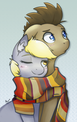 Size: 1203x1920 | Tagged: safe, artist:pezzhippo, derpy hooves, doctor whooves, time turner, pegasus, pony, blushing, clothes, doctorderpy, female, looking away, male, mare, scarf, shared clothing, shared scarf, shipping, snuggling, straight, wink