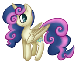 Size: 575x475 | Tagged: safe, artist:breadcipher, bon bon, sweetie drops, alicorn, pony, alicornified, alternate hairstyle, bonicorn, female, looking at you, looking back, race swap, simple background, smiling, solo, transparent background