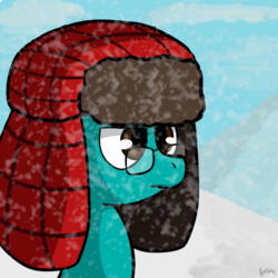 Size: 1000x1000 | Tagged: safe, artist:dongororo, oc, oc only, oc:gororo, glasses, hat, male, serious face, snow, snowfall, solo, winter