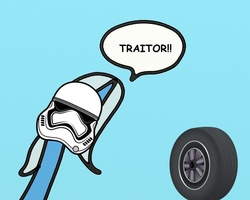 Size: 1000x800 | Tagged: source needed, safe, artist:wollap, trixie, pony, unicorn, context is for the weak, female, fn-2199, mare, meme, spoilers for another series, star wars, star wars: the force awakens, stormtrooper, tr-8r, traitor, wheel, wheels trixie