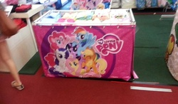 Size: 960x561   Tagged: safe, applejack, fluttershy, pinkie pie, rainbow dash, rarity, twilight sparkle, clothes, irl, malaysia, mane six, mane six opening poses, my little pony logo, photo, picture taken with a potato