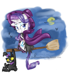 Size: 751x790 | Tagged: safe, artist:vago-xd, part of a set, opalescence, rarity, bat, cat, spider, broom, cape, clinging, clothes, cloud, costume, flying, flying broomstick, full moon, hat, looking back, looking up, moon, night, night sky, nightmare night, sitting, smiling, socks, striped socks, witch, witch hat