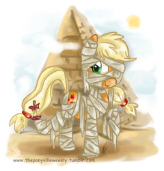 Size: 698x727   Tagged: safe, artist:vago-xd, part of a set, applejack, apple, clothes, costume, female, food, mummy, nightmare night, pyramid, solo