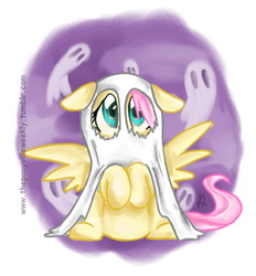 Size: 552x596   Tagged: safe, artist:vago-xd, part of a set, fluttershy, ghost, bedsheet ghost, clothes, costume, female, nightmare night, solo