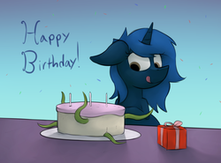 Size: 2112x1567   Tagged: safe, artist:marsminer, oc, oc only, oc:starlight blossom, birthday, cake, female, filly, food, solo, tentacles, this will end in rape