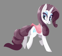Size: 859x777 | Tagged: safe, artist:twitchykismet, rarity, alphamares, collaboration, female, looking back, saddle, simple background, solo
