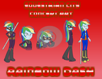 Size: 782x606 | Tagged: safe, artist:darktailsko, rainbow dash, equestria girls, blind, blind rainbow dash, clothes, costume, crossover, crystal prep shadowbolts, daredevil, equestrian city, reference sheet, shadowbolt dash, shadowbolts, shadowbolts costume, solo, superhero, swirly eyes
