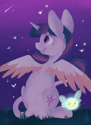 Size: 800x1100 | Tagged: alicorn, artist:gaabcio13, both cutie marks, classical unicorn, female, leonine tail, mare, night, parasprite, pony, safe, shooting star, sitting, solo, spread wings, stars, twilight sparkle, twilight sparkle (alicorn)
