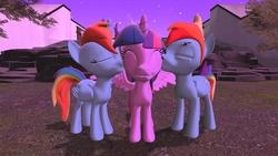 Size: 1360x768   Tagged: safe, artist:mk513, rainbow dash, twilight sparkle, alicorn, pony, 3d, bisexual, female, gmod, half r63 shipping, kiss on the cheek, kiss sandwich, kissing, lesbian, male, polyamory, race swap, rainbow blitz, rainbowcorn, rule 63, self ponidox, shipping, straight, twiblitz, twidash, twidashblitz, twilight sparkle (alicorn)