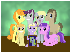 Size: 1024x761 | Tagged: safe, artist:allonsbro, amethyst star, carrot top, derpy hooves, dinky hooves, doctor whooves, forsythia, golden harvest, noi, sparkler, time turner, written script, pegasus, pony, equestria's best daughter, equestria's best family, equestria's best father, equestria's other best daughter, family, female, goldenscript, headcanon, male, mare, photo, shipping, story included, straight