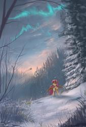 Size: 1200x1764 | Tagged: dead source, safe, artist:shamanguli, fluttershy, rainbow dash, pegasus, pony, aurora borealis, cloud, female, forest, mare, open mouth, scenery, scenery porn, snow, winter