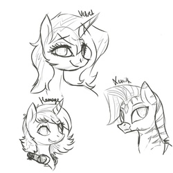 Size: 1000x1000   Tagged: artist needed, safe, oc, oc only, oc:homage, oc:velvet remedy, oc:xenith, pony, unicorn, zebra, fallout equestria, black and white, fanfic, fanfic art, female, grayscale, headphones, horn, looking at you, mare, monochrome, portrait, simple background, sketch, smiling, teeth, text, white background