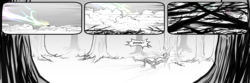 Size: 3000x1000 | Tagged: safe, artist:bakuhaku, rainbow dash, scootaloo, comic:fangirl, comic:friendship is dirty, black and white, comic, grayscale, monochrome, neo noir, partial color