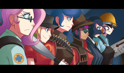 Size: 1215x712 | Tagged: anime, applejack, artist:sallymon, engiejack, engineer, fluttermedic, fluttershy, glasses, heavy, human, humanized, mann vs machine, medic, medishy, parody, princess luna, rainbow dash, rainbow scout, rarispy, rarity, safe, scout, sniper, spy, team fortress 2, twilight sniper, twilight sparkle