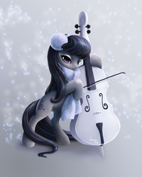 Size: 1200x1500   Tagged: safe, artist:paintedhoofprints, octavia melody, cello, clothes, earmuffs, female, musical instrument, scarf, snow, snowfall, solo, winter
