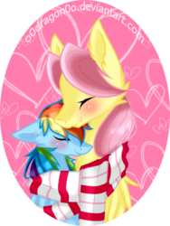 Size: 525x700 | Tagged: safe, artist:o0dragon0o, fluttershy, rainbow dash, butterdash, butterscotch, clothes, female, flutterdash, half r63 shipping, heart, male, rule 63, scarf, shared clothing, shared scarf, shipping, simple background, snuggling, straight, transparent background