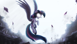 Size: 2000x1141 | Tagged: safe, artist:ncmares, twilight sparkle, alicorn, pony, angry, female, floppy ears, flying, glowing eyes, mare, open mouth, solo, spread wings, twilight sparkle (alicorn)