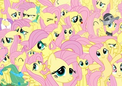 Size: 1600x1131 | Tagged: safe, artist:pegasisterinaction, fluttershy, private pansy, pegasus, pony, clothes, collage, crying, dress, emotions, female, filly fluttershy, flutterrage, flutteryay, gala dress, multeity, so much flutter, solo, yay