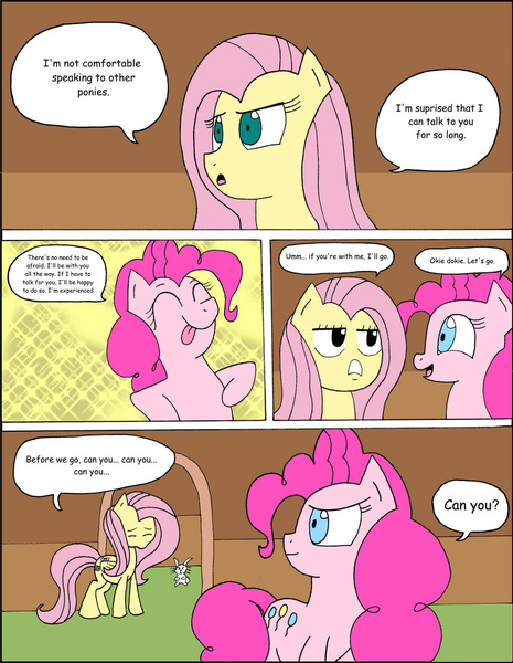 Size: 1024x1322 | Tagged: angel bunny, artist:average-00, comic, comic:opposites, fluttershy, pinkie pie, safe, tongue out
