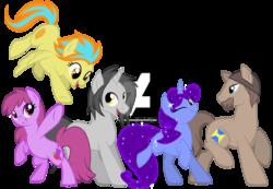 Size: 1600x1108   Tagged: safe, artist:jojuki-chan, berry punch, berryshine, oc, earth pony, pegasus, pony, unicorn