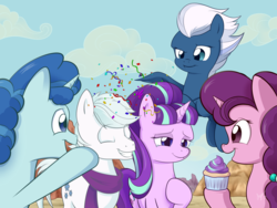 Size: 1024x768 | Tagged: safe, artist:sycotei-b, double diamond, night glider, party favor, starlight glimmer, sugar belle, celebration, confetti, crying, cupcake, equal four, food, friendship, good end, our town, second chances, tears of joy