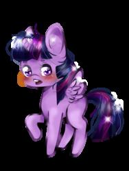 Size: 1500x2000 | Tagged: safe, artist:ponipoke, twilight sparkle, alicorn, pony, blushing, chibi, female, mare, raised hoof, simple background, solo, spread wings, twilight sparkle (alicorn)