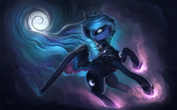 Size: 1920x1200 | Tagged: safe, artist:rain-gear, princess luna, alicorn, pony, armor, female, flying, glowing, mare, moon, night, solo, wallpaper, warrior luna