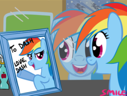 Size: 467x351 | Tagged: safe, artist:smile, rainbow dash, drink, narcissism, picture, reflection, smiling, solo, wonderbolts
