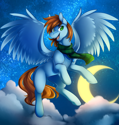 Size: 2000x2100   Tagged: safe, artist:duskyamore, oc, oc only, oc:sorren, pegasus, pony, flying, green eyes, moon, necklace, night, solo, stars, wings