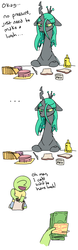 Size: 735x2344 | Tagged: ..., artist:nobody, bologna, bread, bugmom, changeling, changeling queen, cheese, clothes, comic, crown, dialogue, dollar, female, focus, food, human, human male, jewelry, kid anon, knife, male, money, mother, mustard, oc, oc:anon, open mouth, pants, paper bag, post-it, queen chrysalis, regalia, safe, sauce, shirt, simple background, skub, smiling, son, sticky note, white background